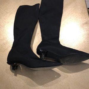 Zara nylon black tall sock boots!